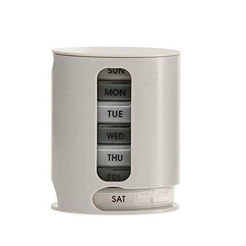 Reizen draagbare Pill Box, CNMF 1 Dispenser 7 stapelbare vakken 4 delen ochtend's middag avondnacht voor het slapengaan grijs