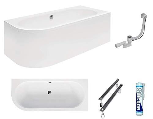 ECOLAM Badewanne Wanne Eckwanne Eckbadewanne für Zwei Modern Design Acryl weiß Avita 170x75 cm RECHTS+ Schürze Ablaufgarnitur Ab- und Überlauf Automatik Füße Silikon Komplett-Set