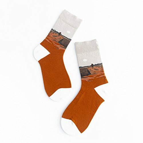 Calcetines De Mujer De Astronauta De Estilo De Pintura Unisex 100% Algodón Calcetines Completos Coloridos Ropa De Calle Espacial para Mujer 1 Par 8121-2