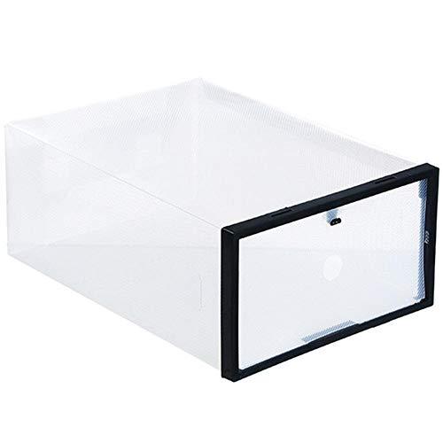 ZDZQTM Caja de Almacenamiento portátil de Zapato Transparente Cristal Grueso Caja de plástico Plegable DIY cajón de Zapatos (Color : Black)