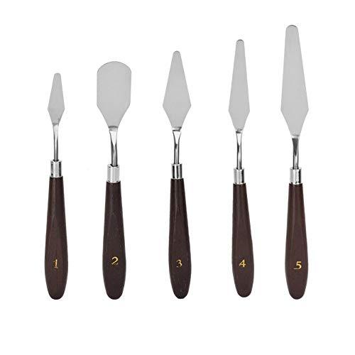 Vobor Cuchillo de Paleta Kit-5pcs Cuchillo de Paleta de Acero Inoxidable Pintura Mezcla Rascador Mango de Madera Pintura al óleo Ligera Cuchillos