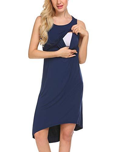 Unibelle Damen Umstandskleid Umstandsmode Schlafanzug Umstandskleidung Mutterschaft Schwangere Kleid Sommerkleid Umstandsnachthemd Stillnachthemd Navy Blau XL