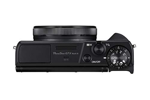 Canon PowerShot G7 X Mark III Digitalkamera (20,1 MP, 4,2-fach optischer Zoom, 7,5cm (3 Zoll) LCD-Touchscreen klappbar, DIGIC 8, 4K, Full-HD, WLAN, Bluetooth, Blendenautomatik; Zeitautomatik), schwarz