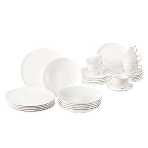 Vivo by Villeroy & Boch Group New Fresh Basic - Vajilla (30 piezas, porcelana, apta para lavavajillas y microondas), color blanco