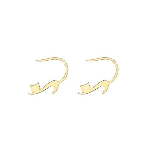 Daesar Pendientes Aro Gato Lindo Pendientes Acero Inoxidable Quirurgico Pendientes de Mujer Oro