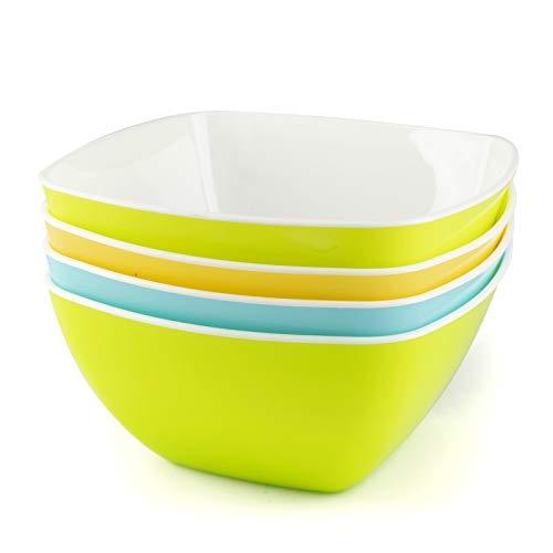 Müslischalen Frühstück, individuelle Plastikschüsseln für Snacks, Popcorn, Dessert oder Suppe, hochwertiges Campinggeschirr - 4er Set