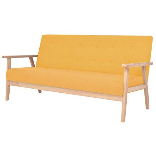 vidaXL 3-Sitzer Sofa Stoff Gelb Stoffsofa Loungesofa Couch Polstersofa