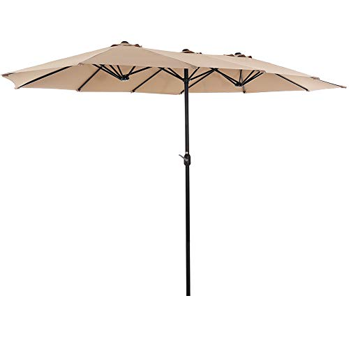 of extra large patio umbrellas SUPERJARE 14 Ft Outdoor Patio Umbrella with 1.89 Inches Pole Caliber, Extra Large Double-Sided Design with Crank, Polyester Fabric - Beige