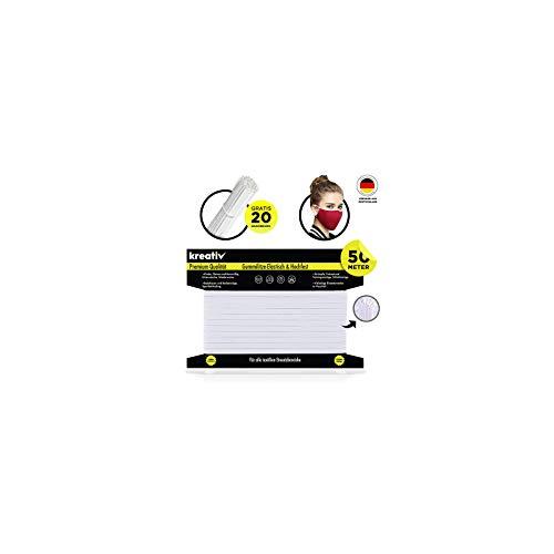 kreativ 50M,5mm Gummiband für mundschutz mit Gummiband Nähen,Breit Gummi gummikordel gummilitze mundschutz, elastikband Kochfest Gummizug Gesicht DIY Masken,gummibände,hosengummi nasenbügel weiß