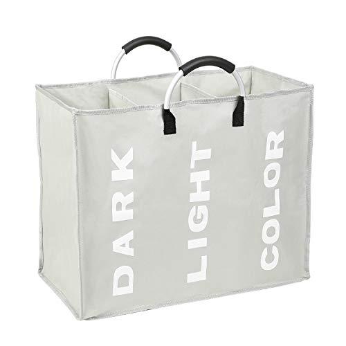 Splenssy Bolsa de almacenamiento para ropa sucia, plegable en 3 secciones, con mango de aleación