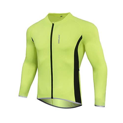 LIKEJJ Mens Maglie Ciclismo XINTOWN maglia da uomo a maniche lunghe ciclismo jersey estate traspirante e ad asciugatura rapida ciclismo top verde fluorescente
