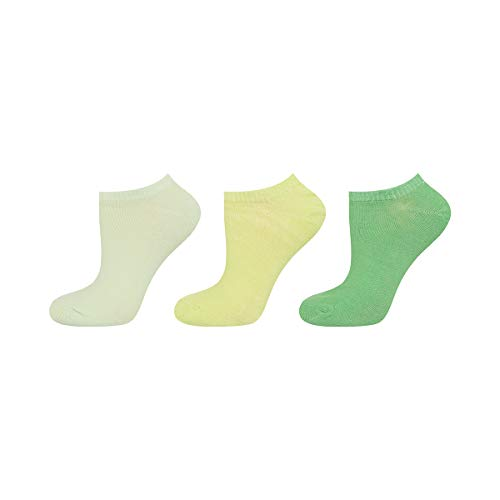 soxo Damen Sneaker Socken | 3 Paar einfarbigen modischen Socken | Größen 35-40 (grün)