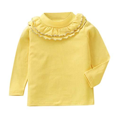 Mitlfuny Primavera Verano de Ropa Blusas para Bebé Manga Larga Camisas Encaje Camisetas Cuello Alto Tops Niñas Niños 1-5 Años