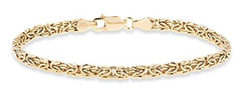 Miabella 925 Sterling Silver or 18K Gold Over Silver Italian 4mm Byzantine Link Chain Anklet Ankle Bracelet for Women Teen Girls, 9 or 10 Inch 925 Italy (Yellow-Gold-Plated-Silver, 9 Inches)
