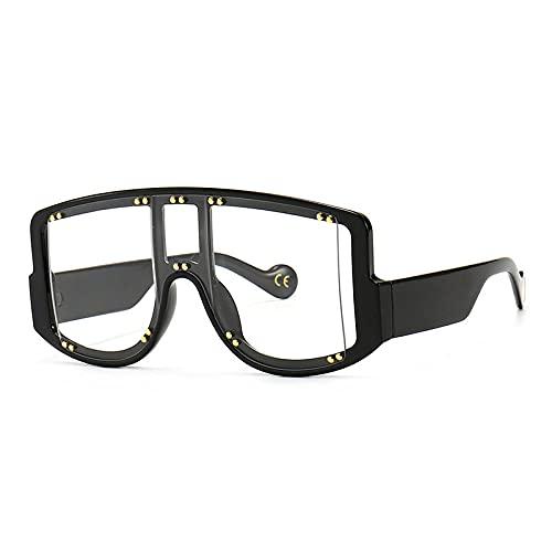 Gafas De Sol Hombre Mujeres Ciclismo Gafas De Sol Cuadradas Vintage para Mujer Gafas Graduadas Decorativas Hombres-Black_Clear