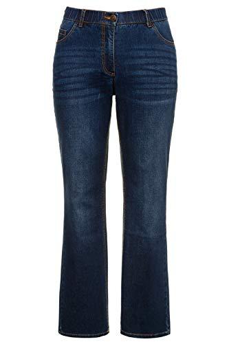 Ulla Popken Damen Marie, Komfortbund, 5-Pocket Bootcut Jeans, Blue Denim, (Herstellergröße:46)
