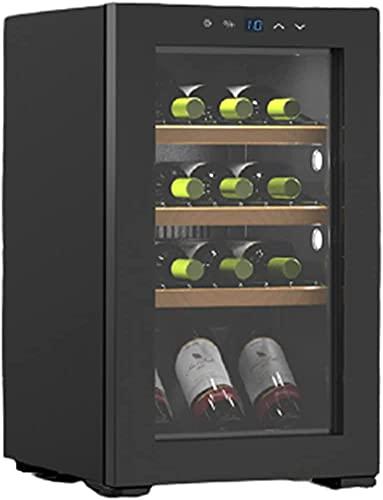 ZHZHUANG Freestanding Freestanding Freestanding Fridge, 20 Botella de Vino Refrigerador, Refrigerador de Vino, Bodega para Champagne Rojo Brillante Vino Champoso Negro,Negro,40X52.6X68.5Cm