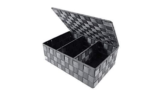 Kobolo Regalkorb Aufbewahrungsbox - mit Deckel Unterteilung - grau - 32x22x9,5 cm