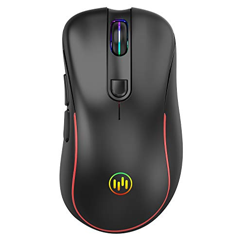 TENMOS T56 Wireless Gaming Mouse, 2.4GHz Rechargeable Optical LED Computer Mouse with Nano USB Receiver, Silent Click, Compatible with PC/Laptop/Notebook (Black)