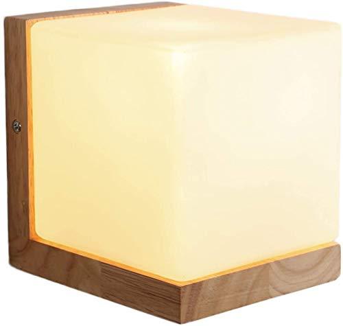 GIOAMH Lámpara de pared LED para interiores, lámpara de pared de madera con pantalla de vidrio cuadrada, blanco cálido, enchufe E27, 12 W, aplique decorativo de pared para mesita de noche, dormitorio