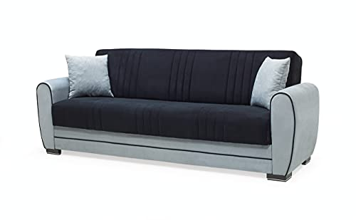 7star Pelin Sofa bed in Black/grey or brown/cream 3 seater and 2 seater fabric Sofabed with storage & 2 free cushions. (Black-grey, 3 Seater)