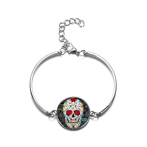 Brazalete Calavera Cristal Pulsera De Piedras Preciosas Damas Hombre Moda Joyas Día De La Muerte Cultura Tradicional Mexicana Brazalete