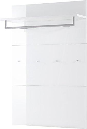 Germania Garderobenpaneel 3763-84 GW-SCALEA in Weiß mit Glasfront, 97 x 144 x 30 cm (BxHxT)