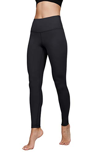 "Yogalicious High Waist Ultra Soft Lightweight Leggings -  High Rise Yoga Pants - Black Nude Tech 28"" - Small"