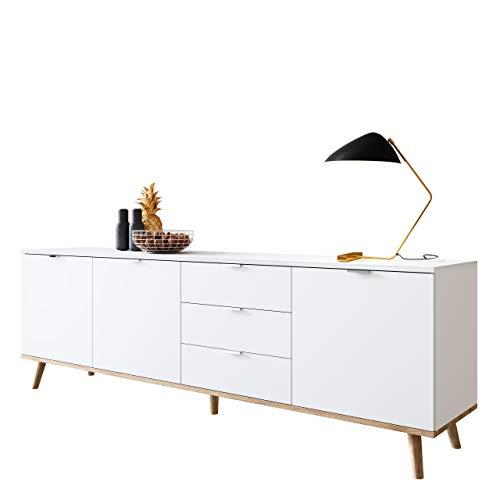 Newfurn Sideboard Skandinavisch Anrichte Highboard Mehrzweckschrank II 200x68x 40 cm (BxHxT) II [Elia.Seven] in Weiß/Weiß Wohnzimmer Schlafzimmer Esszimmer