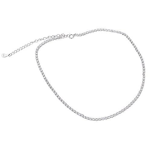 MTTN Trustdavis Genuine 925 Sterling Silver Temperament Sweet Choker Dazzling CZ Clavicle Necklace For Women Wedding Jewelry DS1869 (Gem Color: Silver)
