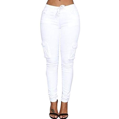 VRTUR Hosen, Damen Freizeithose Stretch Beiläufig Skinny Jogginghose Mode Hip Push up Slim Fit Pants Einfarbig Hose, Bequeme Elastischer Taille Jeans Weiß 4XL