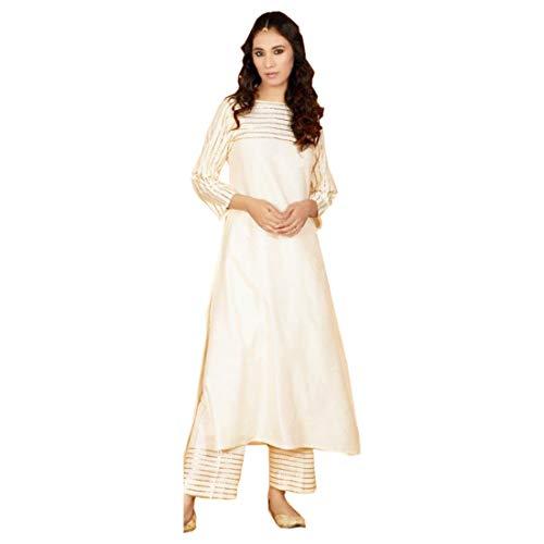 PINKKART 9534 Indianer Pure Rayon Kurti Anzug Salwar Kameez Casual Women Gr. 34, gebrochenes weiß