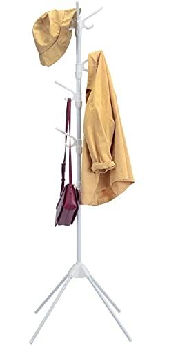 GIANTEX Garderobenständer mit 8 Haken, Kleiderständer Jackenständer freistehend, Garderobe Standgarderobe aus Metall, Kleiderbaum stabil für Jacken Hüte Taschen, weiß