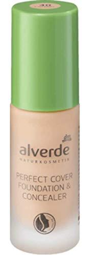 alverde NATURKOSMETIK Perfect Cover Foundation & Concealer Caramel 40, 20 ml