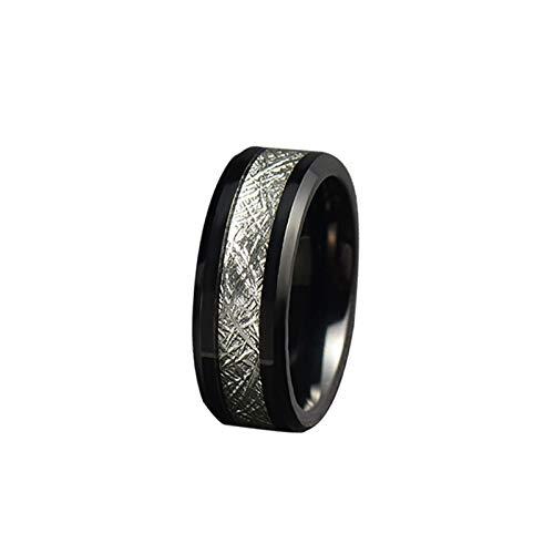 Gualiy Anillos de promesa para hombre, 8 mm, acero inoxidable/tungsteno, anillo de meteorito para hombre, niño, padre, marido, negro y plateado,