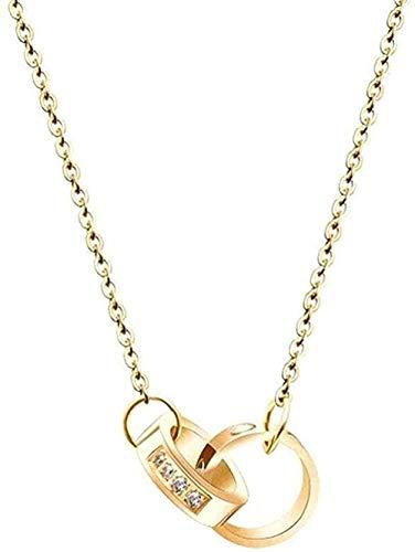 LBBYMX Co.,ltd Collar de Moda de Doble Diamante con Anillo de clavícula, Cadena de Destornillador, Collar Personalizado, Accesorios creativos de Regalo Salvaje