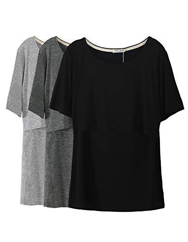 Smallshow 3 Pcs Maternity Nursing T-Shirt Nursing Tops Dim Grey-Black-Grey Medium