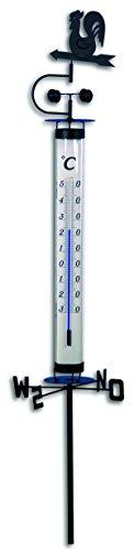 TFA Dostmann Analoges Gartenthermometer, mit Wetterhahn und Windrad, Erdspieß zum Einstecken, wetterfest