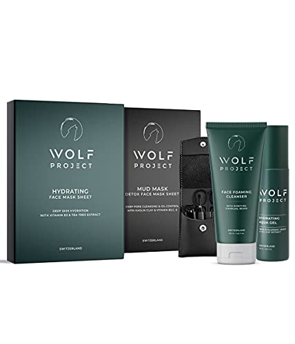 WOLF PROJECT | All-in-One Men's skin care facial kit | Activated charcoal face wash, hydrating face lotion, charcoal face sheet mask, mud face sheet masks and manicure set | gift set for men