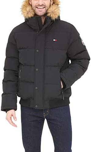 Tommy Hilfiger Men s Quilted Arctic Cloth Snorkel Bomber Jacket with Removable Hood Standard product image