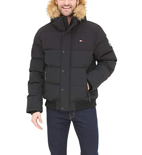 Tommy Hilfiger Men's Quilted Arctic Cloth Snorkel Bomber Jacket with Removable Hood (Standard and Big & Tall), Black, X-Large