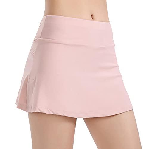 Naticy Falda corta deportiva para mujer, para tenis, golf, transpirable, cintura alta, color puro para correr, yoga