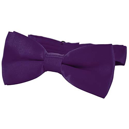 DonDon pajarita noble para niños - combinada y ajustable 9x 4,5 cm - de color lila - brillada con aire de seda