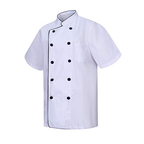MISEMIYA - Giacche Cuoco Chef Giacche Uomo Fantasia Signore con Bottone RIFORMATO - Ref.8421B - Small, Bianco