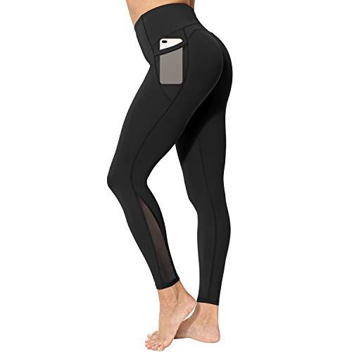 neppein Sport Leggings mit Taschen,Damen High Waist Blickdicht Leggings Sporthose Yogahose Fitnesshose, Schwarz, Gr. S
