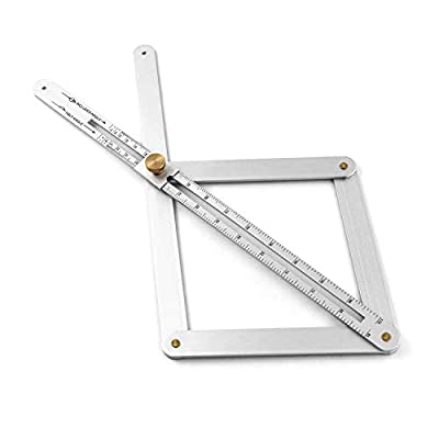 QWORK Aluminum Alloy Bevel Corner Protractor, Corner Angle Finder, Miter Angle Layout Measuring Ruler for Woodworking