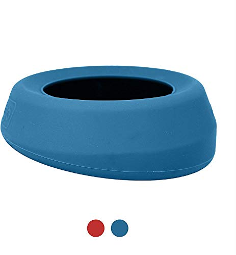 Kurgo No Spill Dog Travel Bowl | Portable No-Mess Water Bowl for Dogs | Splash Less Pet Bowl for Car Travel | Dog Travel Accessories | Splash Free Wander Water Bowl | 24 oz (Coastal Blue)