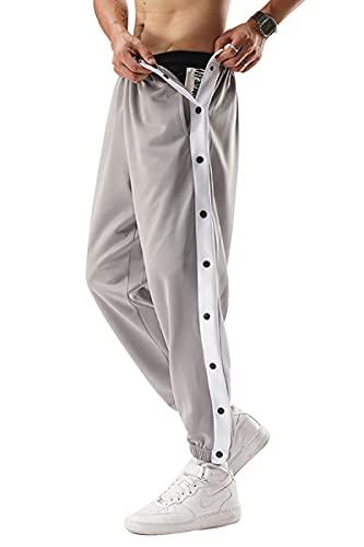 XIANGCHEN Los hombres arrancar baloncesto pantalones sueltos Fit activa pantalones de entrenamiento (Gray,XXL)