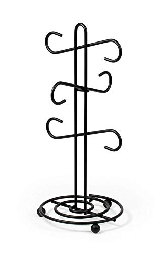 Spectrum Diversified Scroll 6-Mug Holder, Traditional Kitchen Countertop Mug Tree, Coffee Mug & Teacup Storage Rack for Coffee Bar & Kitchen, Coffee Corner Cup Storage