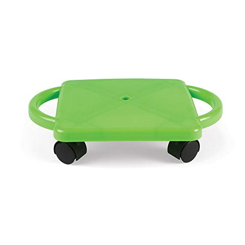 hand2mind Green Indoor Scooter Board with Safety Handles for Kids Ages 6-12, Plastic Floor Scooter Board with Rollers, Physical Education for Home, Homeschool Supplies (Pack of 1)